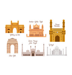 Indian set temples architecture icons vector