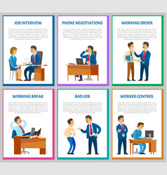 Interview candidate talking to director posters vector