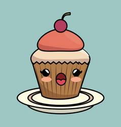 kawaii cupcake icon vector image