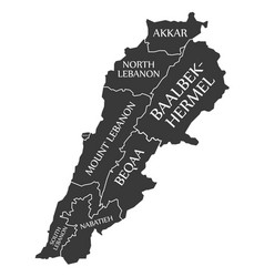 lebanon map labelled black vector image