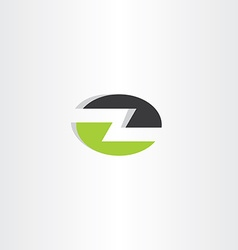 letter z elipse icon green black logo vector image