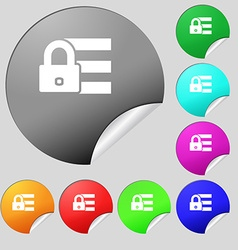 Lock login icon sign Set of eight multi colored vector