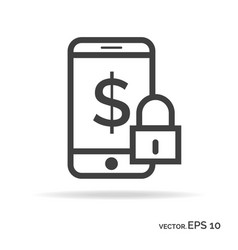 lock mobile money outline icon black color vector image