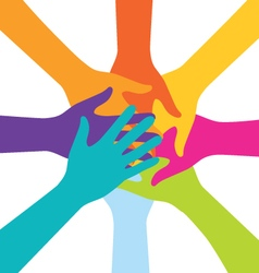 Many Teamwork People Join Colorful Hand vector