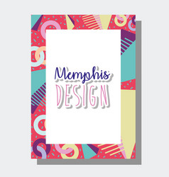 Memphis template and background vector