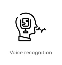 Outline voice recognition icon isolated black vector