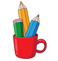 pencils and mug vector image