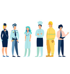 people different professions doctor fireman vector image