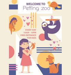 petting zoo poster girl playing vector image