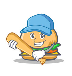 Playing baseball burger character fast food vector