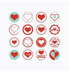 Red and teal heart symbols circle icons set vector image vector image