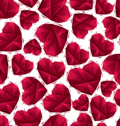 Red hearts seamless pattern geometric contemporary vector image