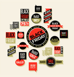 sales spots and clip art for black friday vector image