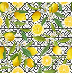 Seamless Pattern Lemon Fruits Background Floral vector image