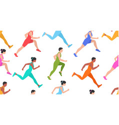 Seamless pattern with jogging people vector