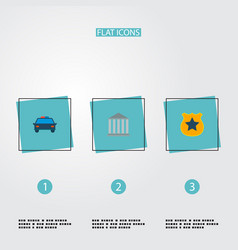 Set crime icons flat style symbols with court vector