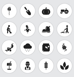 Set of 16 editable planting icons includes vector