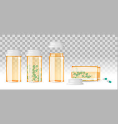 set of closed and open pill bottles on the vector image