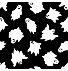 set of halloween ghosts on black background vector image
