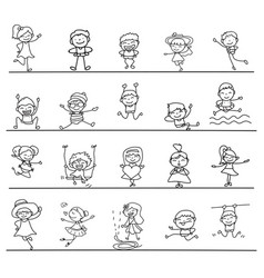 set of hand drawing abstract happy cute kids line vector image
