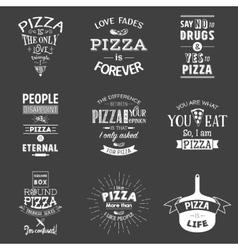 Set of vintage pizza typographic quotes vector