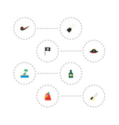 set piracy icons flat style symbols with hand vector image