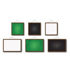 set realistic blackboard greenboard and vector image