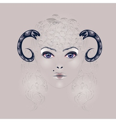 Sheep as Girl with Horns vector image