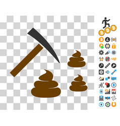 Shit mining icon with bonus vector
