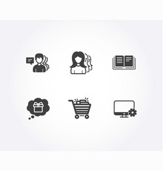 shopping cart education and gift dream icons vector image