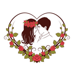 silhouette of loving couple vector image