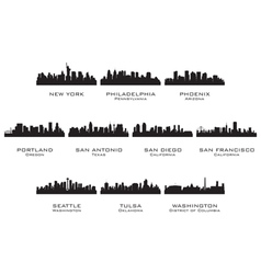 silhouettes usa cities 3 vector image