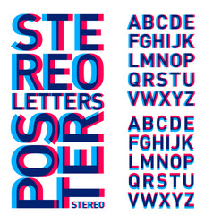Stereo letters alphabet stereoscopic poster vector
