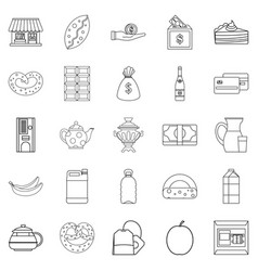 Street cafe icons set outline style vector