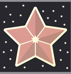stripped red star icon sticker on dark starred vector image