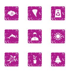 Suburbia icons set grunge style vector