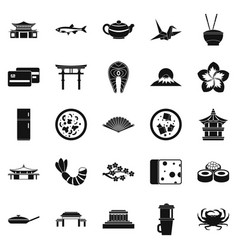 sushi bar icons set simple style vector image