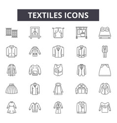 textiles line icons signs set linear vector image