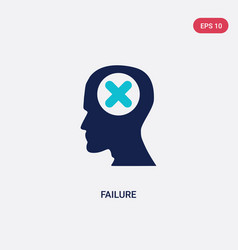 Two color failure icon from brain process concept vector