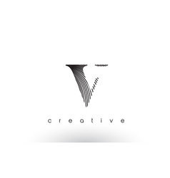 V logo design with multiple lines and black and vector