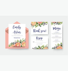 wedding invite invitation menu thank you rsvp vector image