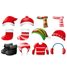 winter clothes in red and green color vector image