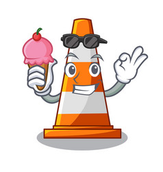 with ice cream traffic cone on made in cartoon vector image