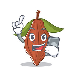 with phone cacao bean character cartoon vector image