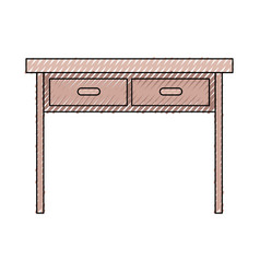 Wooden desk of two drawers in colored crayon vector