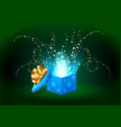 beautiful magic light shining from a blue gift box vector image vector image