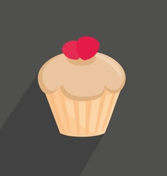Flat cupcake sign isolated on dark background vector image vector image