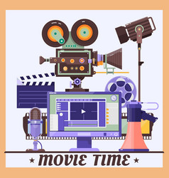 retro cinema concept poster with megaphone lamp vector image vector image