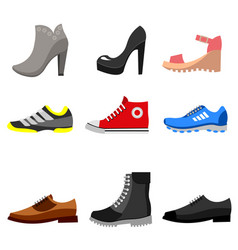 types of shoes icons set vector image