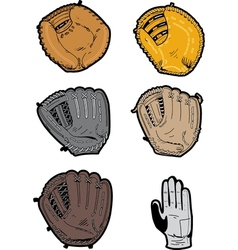 Assorted Baseball Gloves vector image
